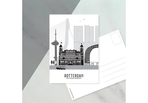 Mevrouw Emmer Ansichtkaart Rotterdam zwart-wit