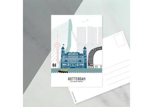 Mevrouw Emmer Ansichtkaart Rotterdam pastel