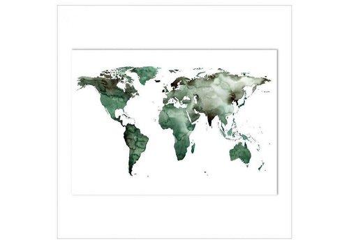 Leo La Douce Artprint 50x70 - World map green
