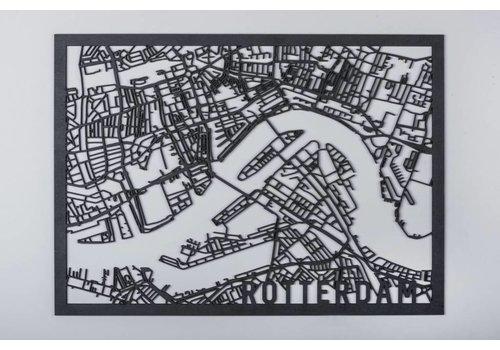 Cityshapes Citymap Rotterdam zwart 30x40cm
