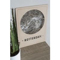 Citymap Rotterdam bruin 30x40cm