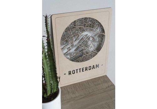 Cityshapes Citymap Rotterdam bruin 30x40cm