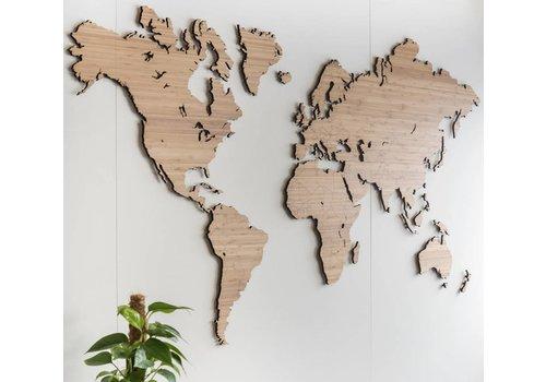 Cityshapes Wereldkaart - Bamboe 160cm