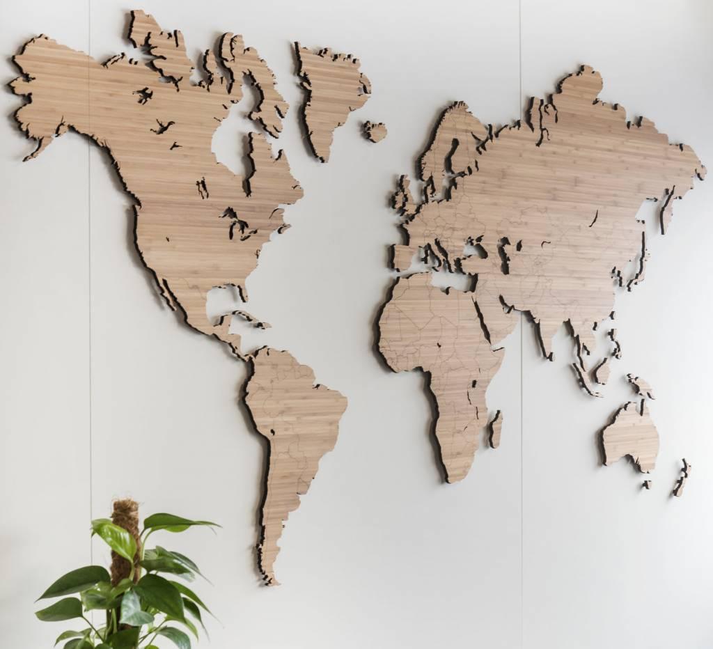 Hedendaags Wereldkaart 160cm | Bamboe hout | Eenvoudig te (de)monteren - KKEC ZO-46