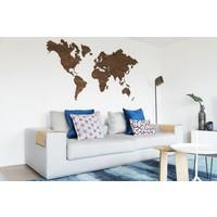 Wereldkaart - noten 160cm