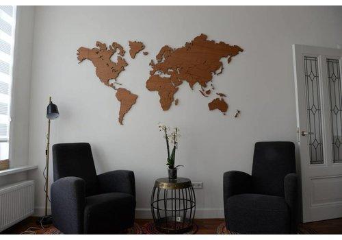 Cityshapes Wereldkaart - Eiken 160cm