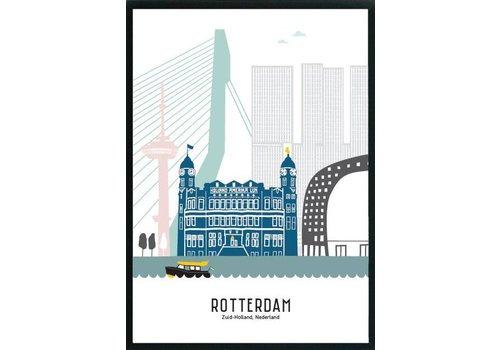 Mevrouw Emmer Rotterdam poster pastel 50x70