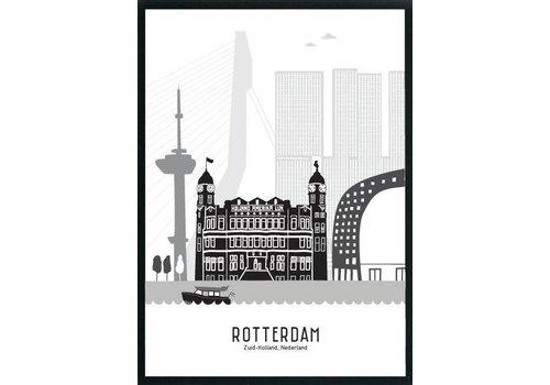Mevrouw Emmer Rotterdam poster zwart-wit A3