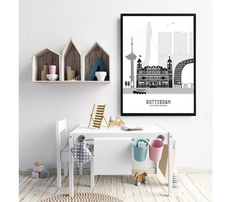 Rotterdam poster zwart-wit 50x70