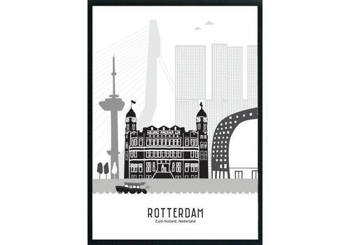Mevrouw Emmer Rotterdam poster zwart-wit 50x70