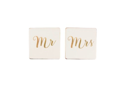 Sass & Belle Mr & Mrs onderzetter set (gold)
