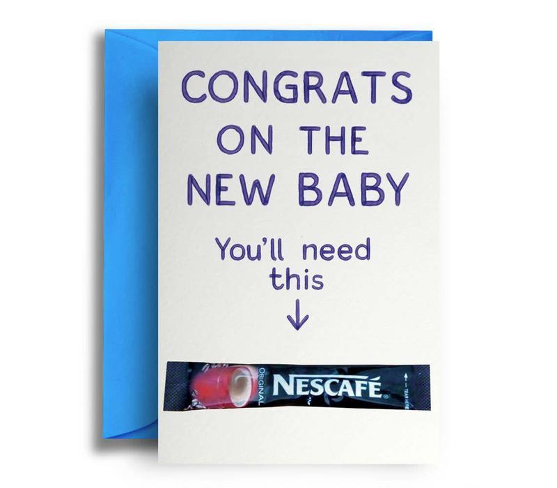 Geboortekaart New baby coffee