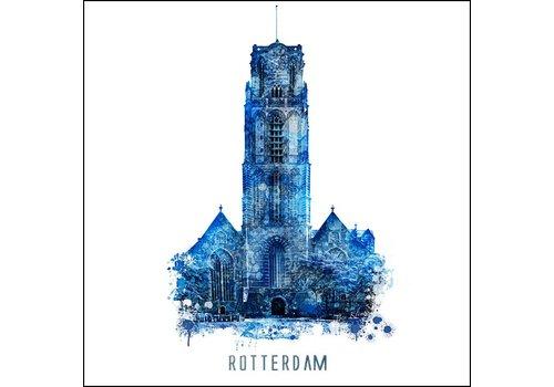 Ben Kleyn Rotterdam poster | Laurenskerk | Delftsblauw poster | 30x30