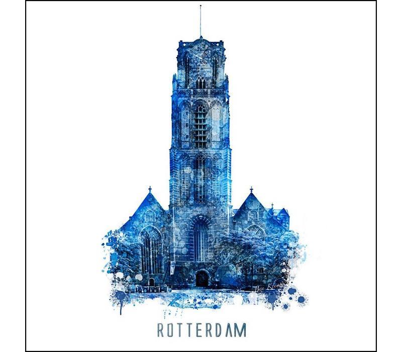 Rotterdam poster | Laurenskerk | Delftsblauw poster | 30x30