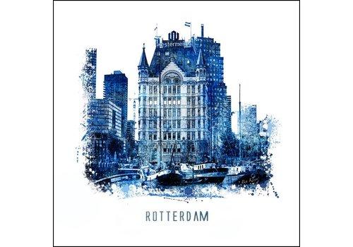 Witte huis - Delftsblauw poster 30x30