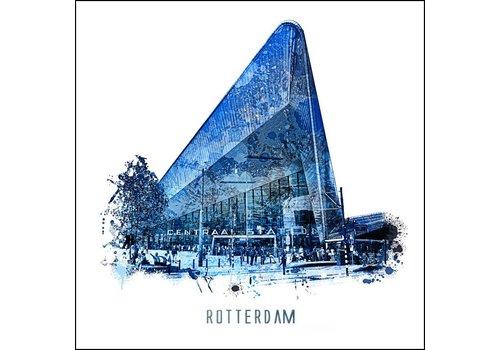 Ben Kleyn Rotterdam poster | Centraal Station | Delftsblauw poster | 30x30