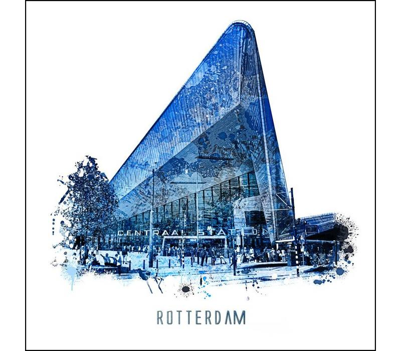 Rotterdam poster | Centraal Station | Delftsblauw poster | 30x30