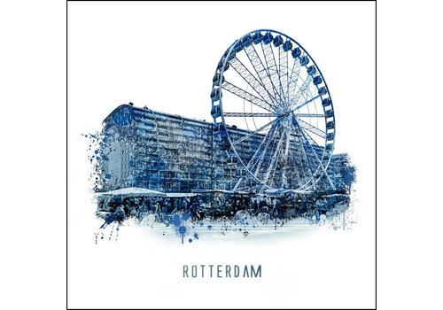 Ben Kleyn Rotterdam poster | Markthal | Delftsblauw poster | 30x30
