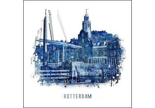 Ben Kleyn Rotterdam poster | Delfshaven | Delfts blauw poster | 30x30
