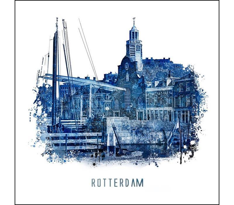 Rotterdam poster   Delfshaven   Delfts blauw poster   30x30