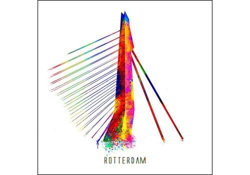 Erasmusbrug - Pop art poster 30x30