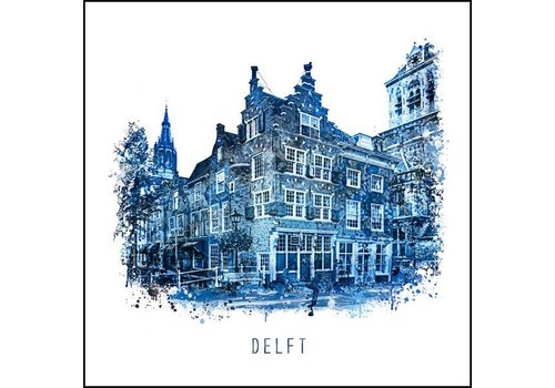Voldersgracht - Delfts blauw poster 30x30