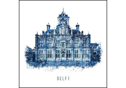 Ben Kleyn Stadhuis Delft - Delfts blauw poster 30x30