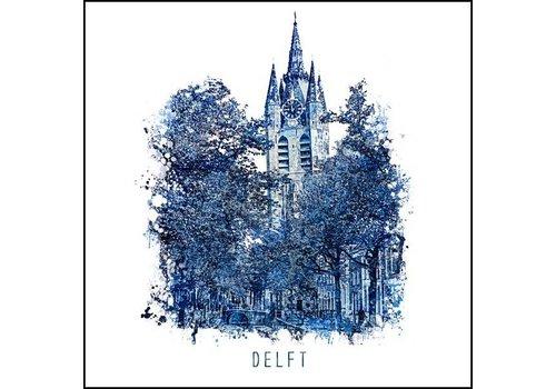Ben Kleyn Oudekerk Delft - Delfts blauw poster 30x30