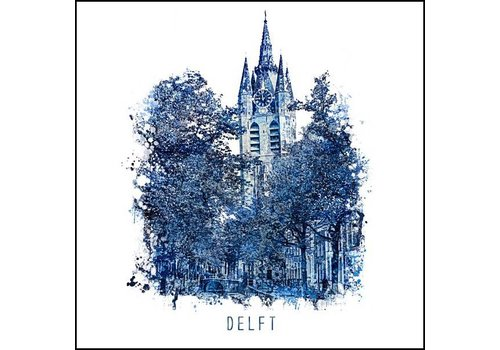 Oudekerk Delft - Delfts blauw poster 30x30