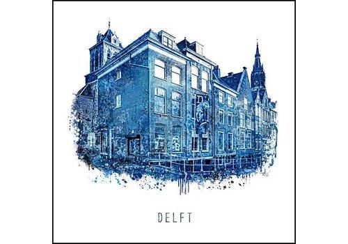 Ben Kleyn Oude lange dijk - Delfts blauw poster 30x30