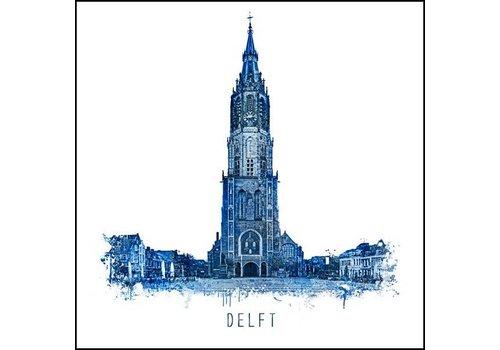 Nieuwekerk Delft - Delfts blauw poster 30x30