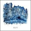 Ben Kleyn Kerkstraat Delft - Delfts blauw poster 30x30
