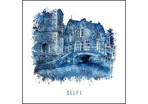 Kerkstraat Delft - Delfts blauw poster 30x30