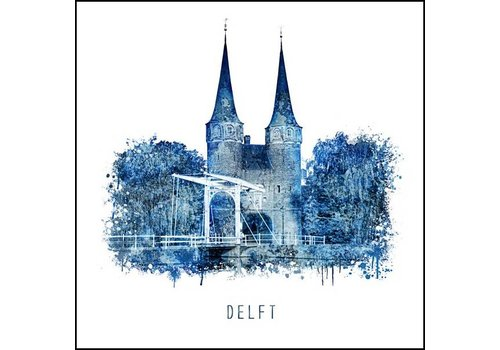 Ben Kleyn Delftsepoort - Delfts blauw poster 30x30