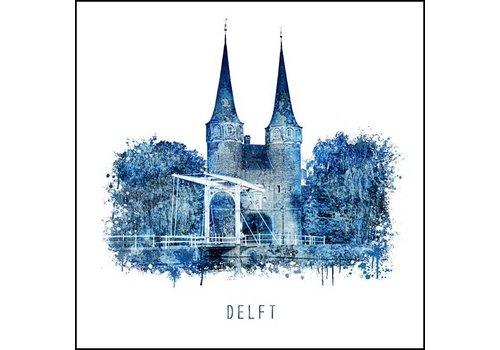 Delftsepoort - Delfts blauw poster 30x30