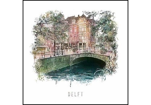 Delft 1 - vintage poster 30x30