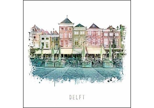 Ben Kleyn Delft markt - vintage poster 30x30