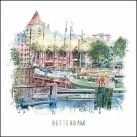 Rotterdam poster   Oude haven   vintage poster   30x30