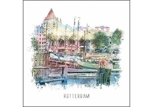 Ben Kleyn Rotterdam poster | Oude haven | vintage poster | 30x30