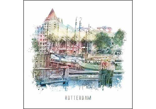 Oude haven - vintage poster 30x30