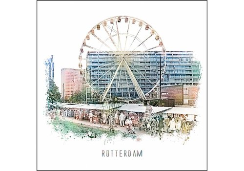 Ben Kleyn Rotterdam poster | Markthal en Markt | vintage poster | 30x30
