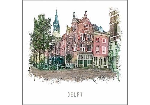 Ben Kleyn Delft Voldersgracht - vintage poster 30x30