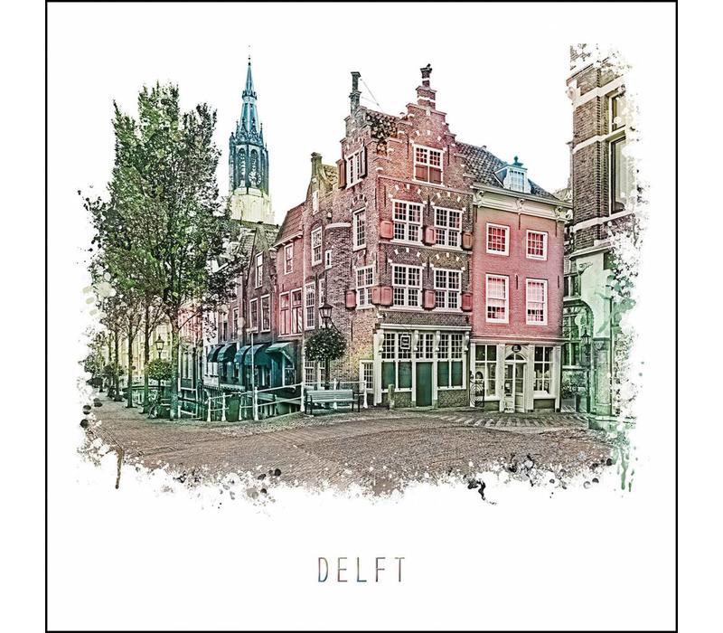 Delft Voldersgracht - vintage poster 30x30