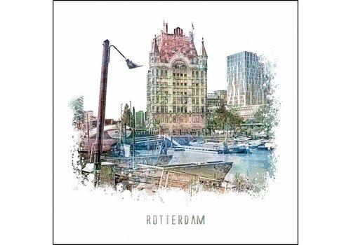 Ben Kleyn Witte huis Rotterdam - vintage poster 30x30