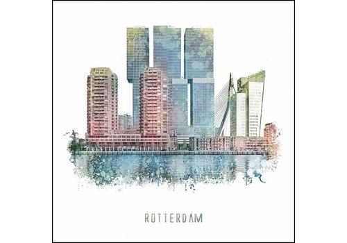Ben Kleyn Rotterdam vanaf Zuid - vintage poster 30x30