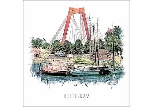 Ben Kleyn Rotterdam poster | Willemsbrug | vintage poster | 30x30