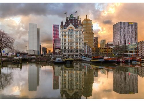 Prachtig Rotterdam Witte huis zonsondergang