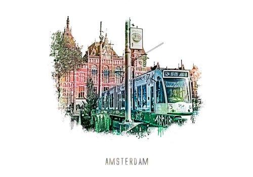Amsterdam Station – vintage 30x30