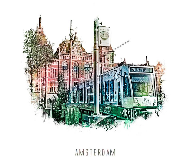 Amsterdam poster | Station | vintage | 30x30