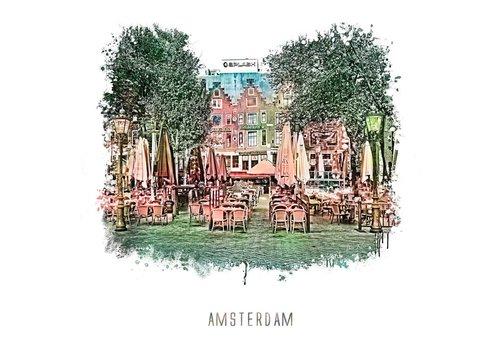 Ben Kleyn Amsterdam poster | Leidseplein | vintage | 30x30